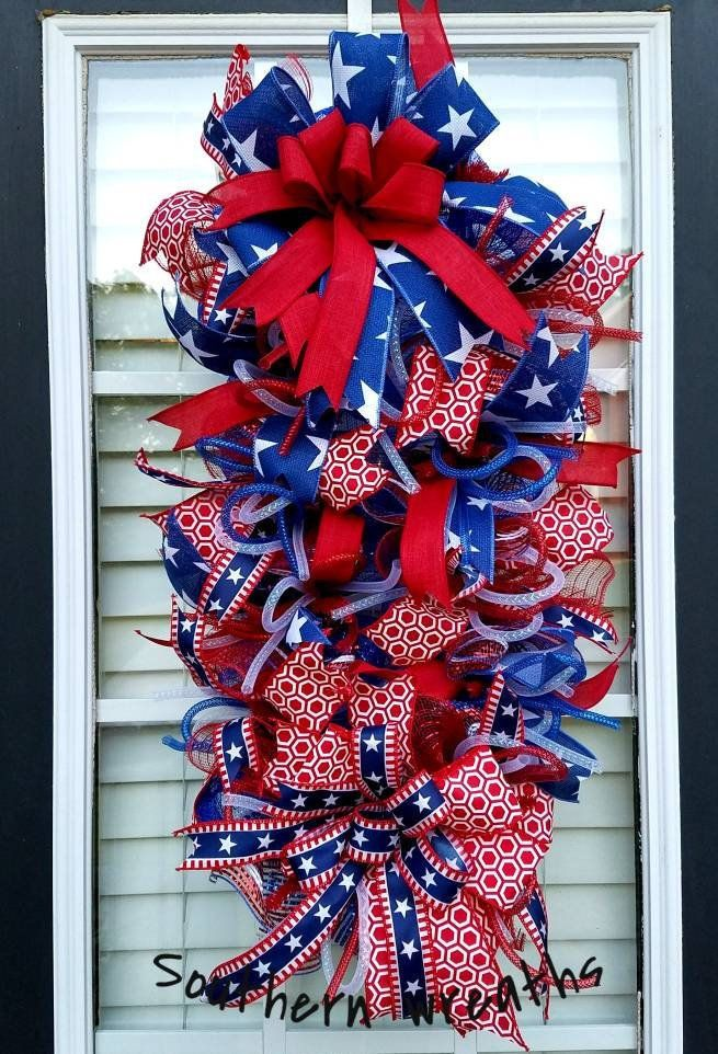 Patriotic Door Swag July 4th Door Wreath Patriotic Decoration Large Red White Blue Swag Mesh Wreath Patriotic Door Decor Uncle Sam Swag Patriotic Decorations Door Decorations Red White Blue Wreath