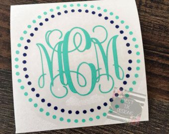 Monogrammed Decal  Personalized  Vine Monogram  Circle