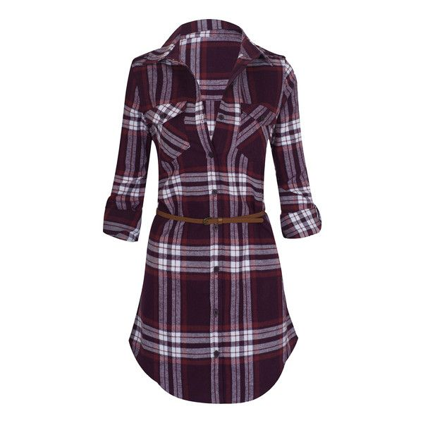Women's Long Sleeve Button Down Plaid Flannel Belted Tunic Shirt Dress... ($31) ❤ liked on Polyvore featuring tops, dresses, red, button-down shirt dresses, purple shirt dress, flannel dresses, red long sleeve dress and plaid dresses
