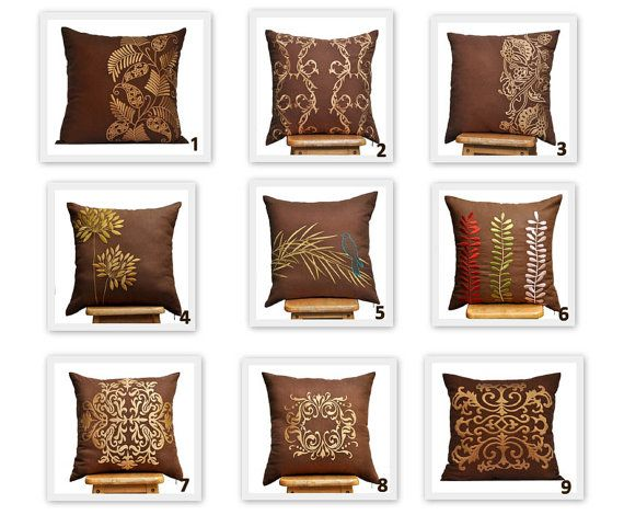 MIX AND MATCH PILLOWS! YOU CHOOSE THE DESIGN ! Please enter the number of the throw pillow cover design you would like in NOTE fields DURING CHECKOUT. The price shown in this listing is FOR TWO PILLOW Great choices for modern classic pillow covers in RUSSET BROWN LINEN AND GOLD EMBROIDERY The background is the same russet brown linen fabric (solid) as the front side.  This pillow cover is available in size 16 x 16, size 18 x 18, size 20 x 20, size 24 x 24 and size 26 x 26. Choose the size…
