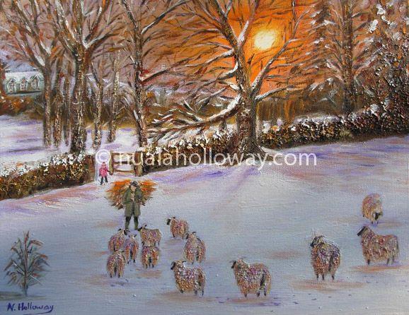 """Feeding Sheep in the Snow"" by Nuala Holloway - Oil on Canvas #IrishArt #Sheep #Farmlife #Snow #Christmas"