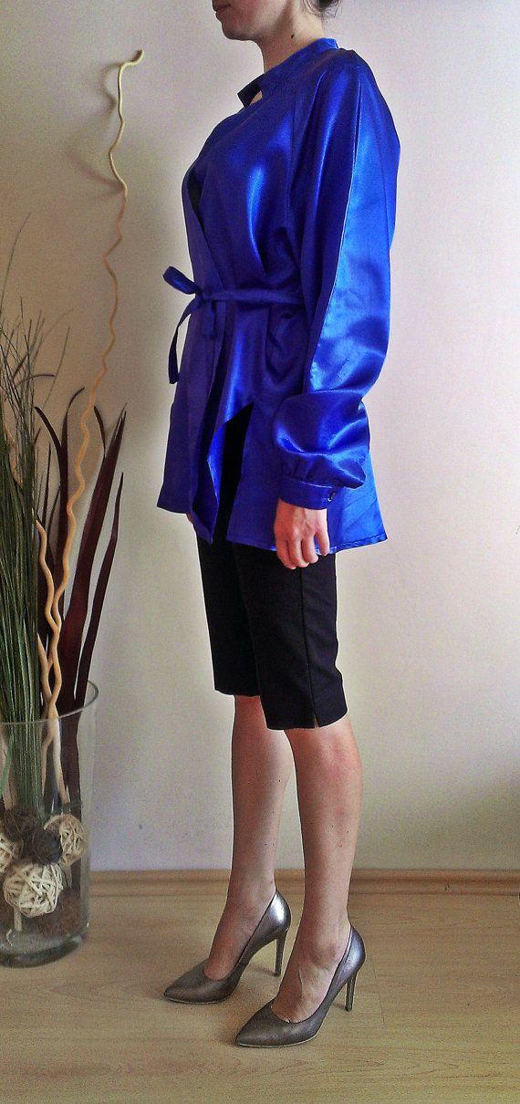 Kimono Top Royal Blue Kimonostyle Blouse Satin by PrincipessaLabel, $60.00
