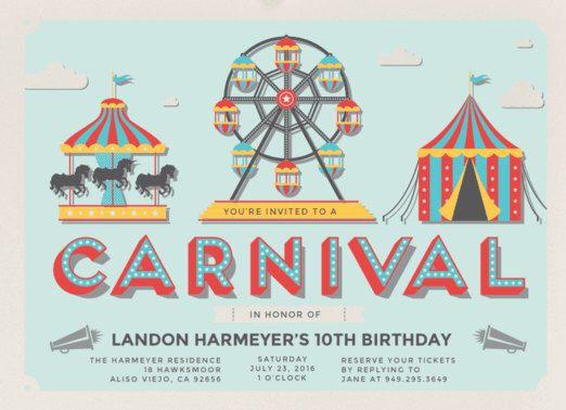 Birthday invitation. Carnival Fun Birthday Party