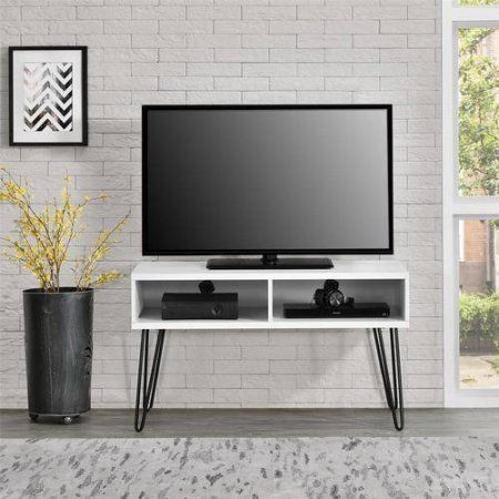 Mainstays Retro TV Stand for TVs up to 42 inch wide, Multiple Colors, White