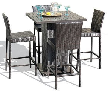 Venus Pub Table Set With Barstools 5 Piece Outdoor Wicker Patio Furniture - contemporary - Outdoor Pub And Bistro Sets - Design Furnishings
