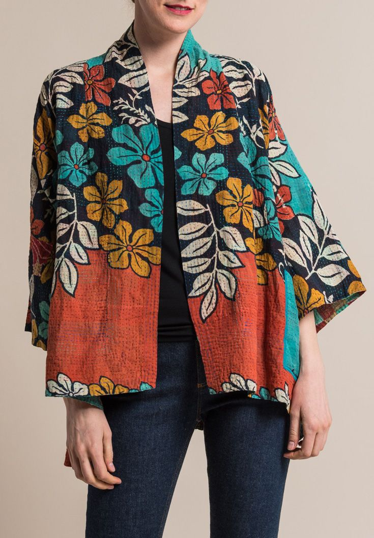 $610.00 | Mieko Mintz 2-Layer Kimono Jacket in Turquoise/Rust | Mieko Mintz creates clothing from vintage saris, which are upcycled into new fashion. The reversible clothing is an artful multi-pattern combination of by Mieko that is then made into kantha fabric. Sold online and in-store at Santa Fe Dry Goods in Santa Fe, New Mexico.
