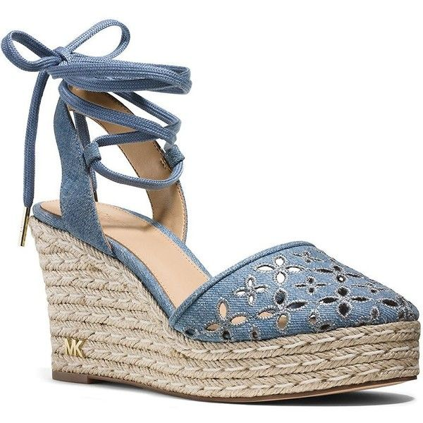 Michael Michael Kors Darci Espadrille Platform Wedge Sandals (165 AUD) ❤ liked on Polyvore featuring shoes, sandals, wedges, washed denim blue, lace-up sandals, mid heel sandals, wedge espadrilles, michael michael kors shoes and wedge sandals