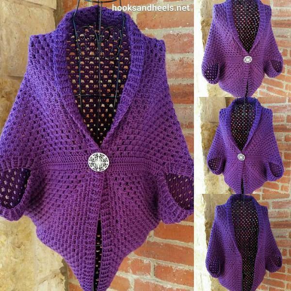 hooksandheels.net granny square shrug free crochet pattern