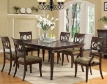 7pc Dining Set with Interlocking Circle Chair Back in Brown Finish