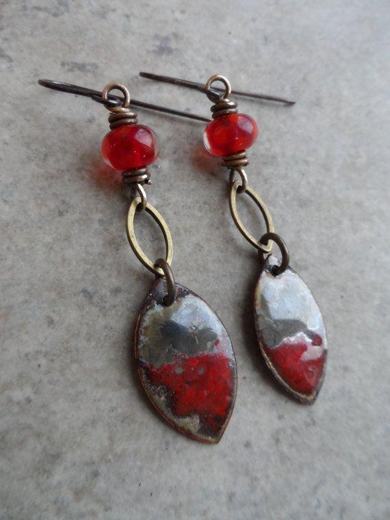 Cherries Jubilee ... Enameled Copper Charms by juliethelen on Etsy