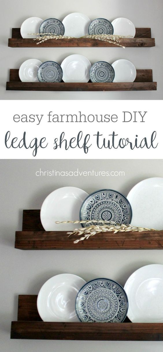 This simple DIY ledge shelf tutorial will teach you how to make wood display shelves in less than 30 minutes and for under $20! You'll love this project