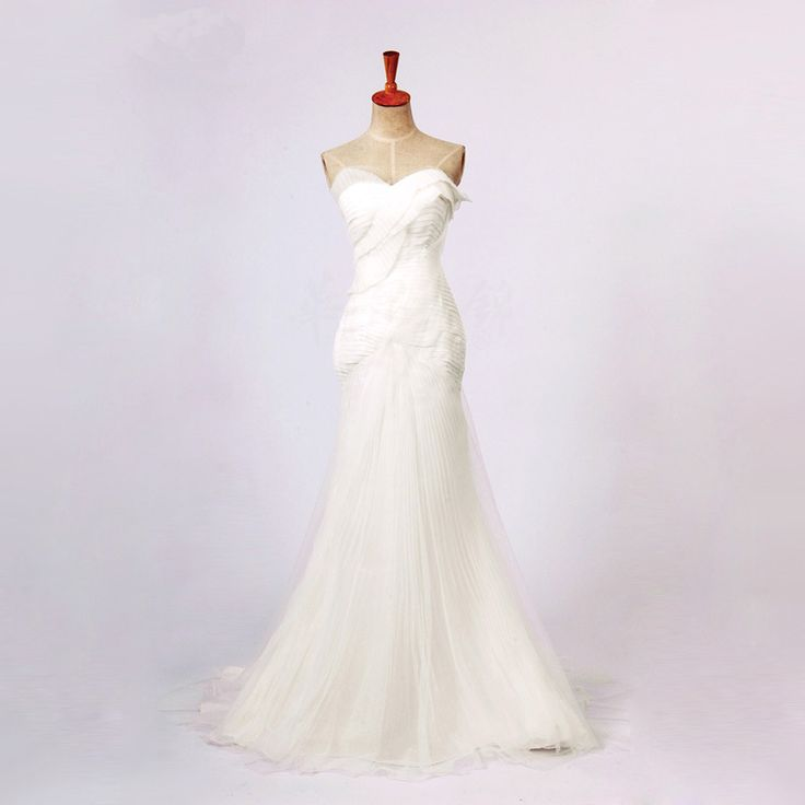 Strapless A-line Tulle wedding dress website!