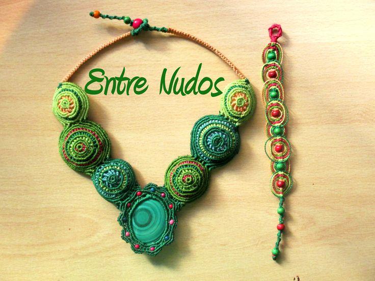 Conjunto de collar y pulsera circular.  #EntreNudosMacrame