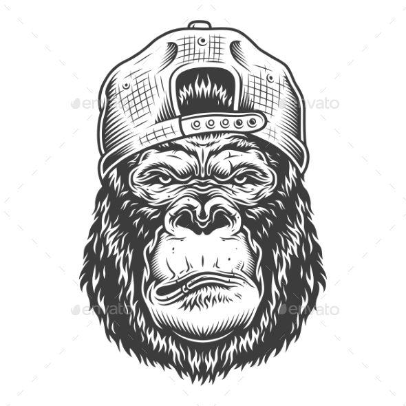 Serious Gorilla In Monochrome Style Gorilla Tattoo Gorillas Art Monochrome Fashion