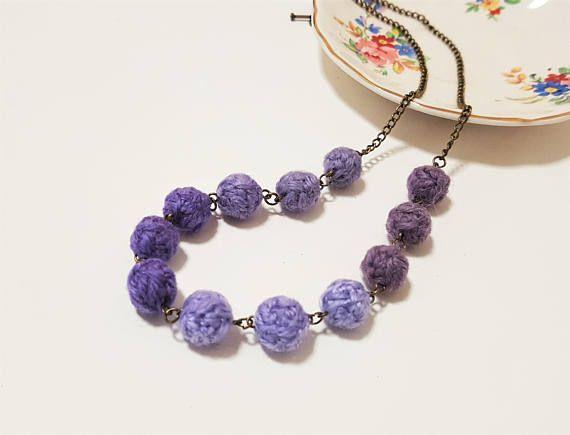Purple Fibre Necklace. Lavender Christmas. Wool Yarn Beads. Waterdrop Beads. Violet Gradation. Christmas Gift.