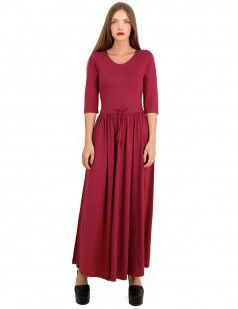 Crepe maxi dress with drawstring belt - Red color