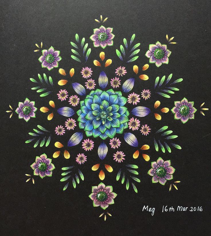 Finished Flower Mandala Coloured By Meg Blomstermandala Mariatrolle