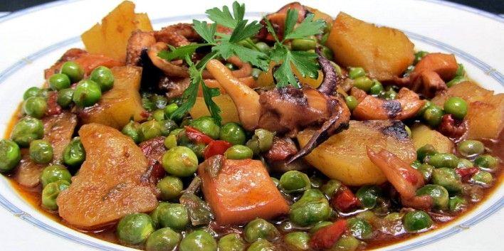 Pèsols amb sípia i patates (el plat de Mataró) - Racó Català