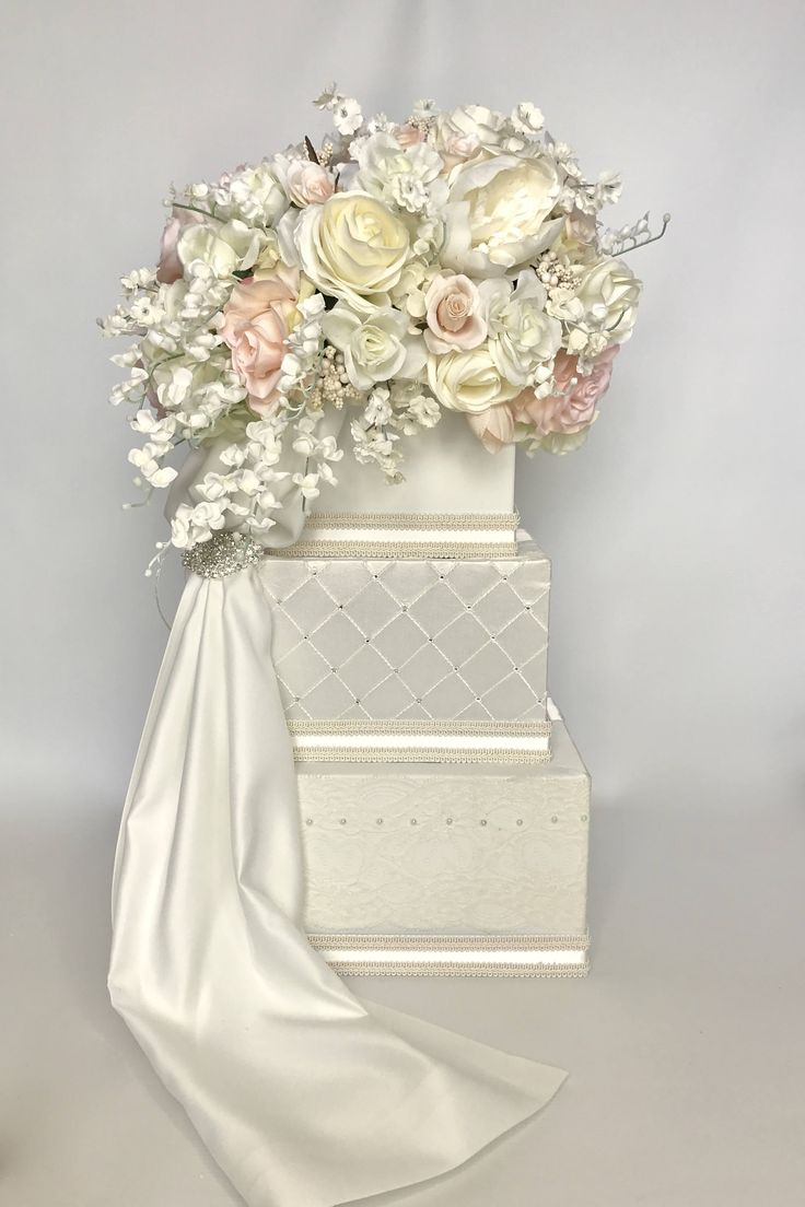 Wedding Card Holder Three Tiers Pale Peach Pink Ivory Wedding Card Box  Secure Lock Three Tier