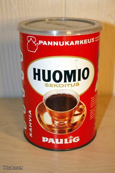 Huomio-sekoitus kahvipurkki,