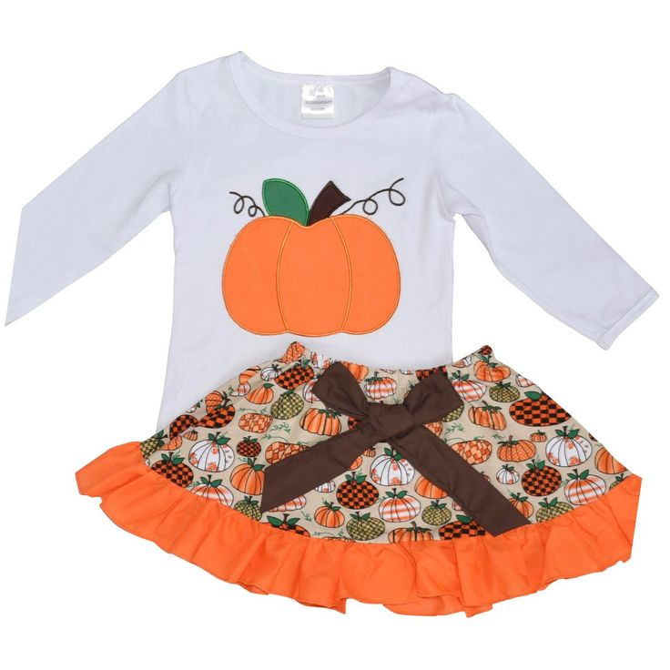 Unique Baby Girls 2 Piece Pumpkin Skirt Halloween & Thanksgiving Fall Outfit (5). WHAT KIDS [LOVE]: Comfort and Pumpkins! Brown, orange and green colors bring out the Fall season in this beautiful outfit and the adorable pumpkin design will make this outfit your little girl's favorite!. FIT AND [FEEL]: 97% soft cotton and 3% stretchy spandex fabric is cool, breathable and flexible. You won't get any fuss about putting this one on!. STYLE [PUMPKIN]: A cute pumpkin design on the top and the...
