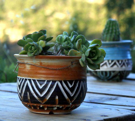 Outdoor-saftige Plater Tribal Keramik Topf Blume Keramik hängen Übertopf, indoor Büro Pflanzer Kaktus Pflanzer,