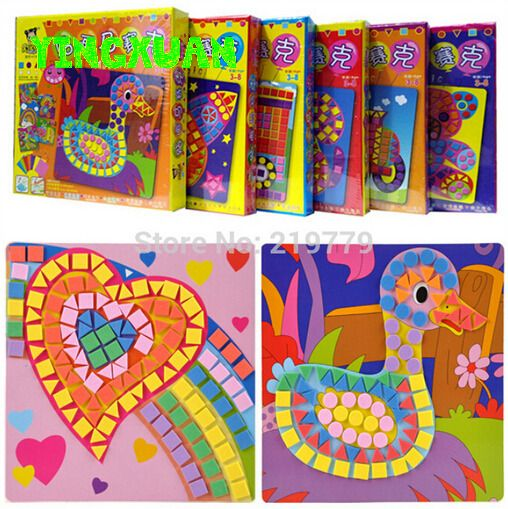 HAPPYXUAN 6 designs/set Kids EVA Mosaic Stickers 3D Art Crafts Puzzle AnimalsTransport  Children's DIY Educational Toy