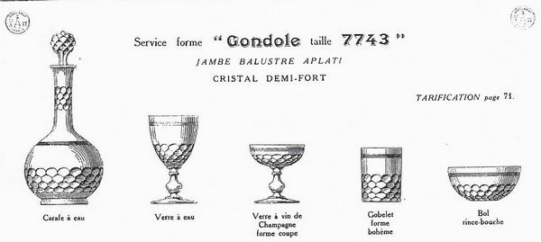 """Baccarat (France) - model """"Chauny with gondola foot """" - 6 wine or port wine glasses in crystal, France, late 19th century - Catawiki"""