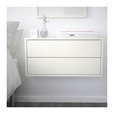 IKEA - EKET, Mobile con 2 cassetti, , Un semplice elemento, ideale se hai poco spazio, può anche essere la base di una soluzione più ampia se le tue esigenze cambiano.Puoi collocare il mobile sul pavimento o fissarlo alla parete.Grazie agli accessori integrati per l'apertura a pressione, basta premere leggermente i cassetti per aprirli, senza bisogno di maniglie o pomelli.Il montaggio è semplice e veloce grazie al tassello che si inserisce nei fori predisposti.