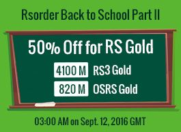 Mark the time to snap up half-priced 4100m rs and 820m rs 07 gold on http://www.rsorder.com/x-off-sale.  Valid time: at 03:00 am gmt on Sept.12, 2016 #runescape #rs #osrs