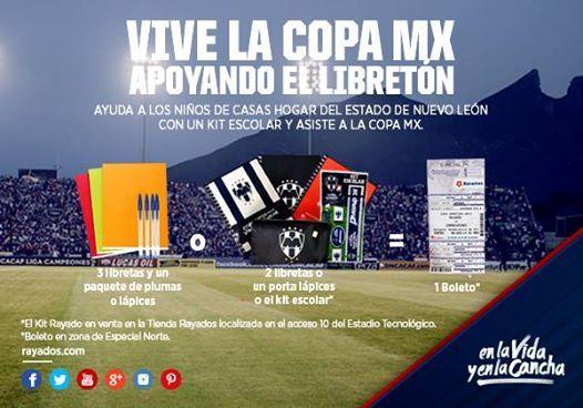 ¡Apoya el #LibretónRayado y ven a vivir la #CopaMX en el Estadio! Trae 3 libretas y 1 paquete de plumas/lápices o 2 libretas y 1 porta lápices o el kit escolar de #Rayados y te llevas un boleto para el partido de hoy.  ¡Te esperamos! Frente a la puerta 10 habrá un módulo desde las 18:00hrs y hasta el inicio de partido. Invita a tus amigos y unamos esfuerzos. #ESR.