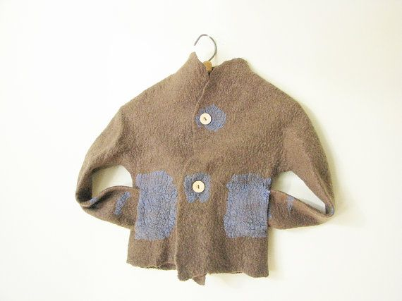 Children jacket with pockets  hand made felted of softest
