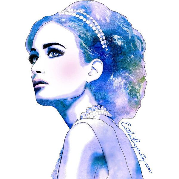 Blue Diamonds - Watercolor Fashion Illustration Fine Art Print ($31) found on Polyvore