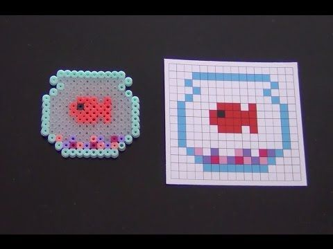 Cute Fish Bowl Perler Bead Pattern.  Laceys Crafts is all about sharing super simple and adorable crafts for kids. Enjoy!