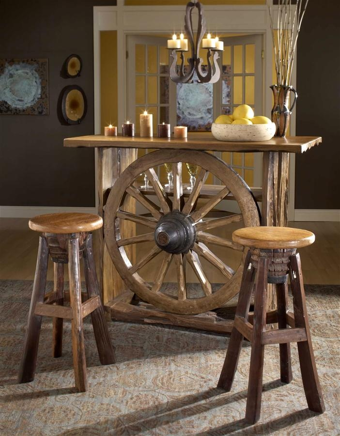 Rustic Western Style Bar w Wagon Wheel Center In Reclaimed Teak