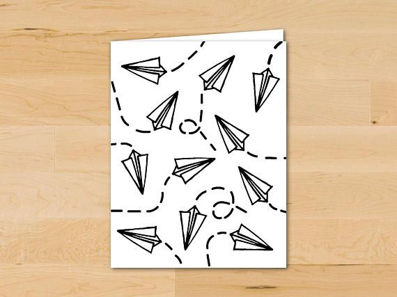 Paper Plane Card Drawing Pattern Card Cute Doodle Simple