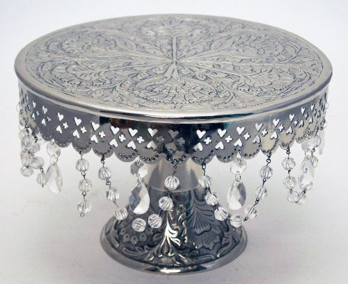 GiftBay Wedding Cake Stand Round Pedestal Silver Finish 14 With Glass Clear  Crystals