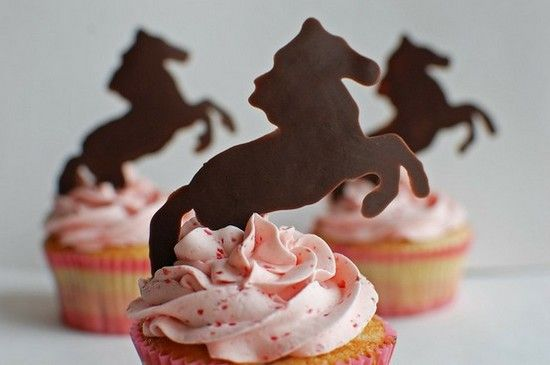 Horse cake toppers made by painting melted chocolate onto wax paper sheet and let freeze - peel off and bam! instant cake - cupcake toppers