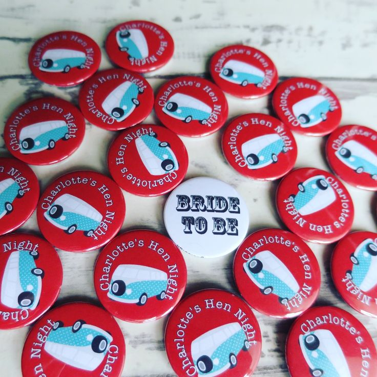 Cute camper van themed hen badges. Customise your own on our site. All hand made… – Button badges