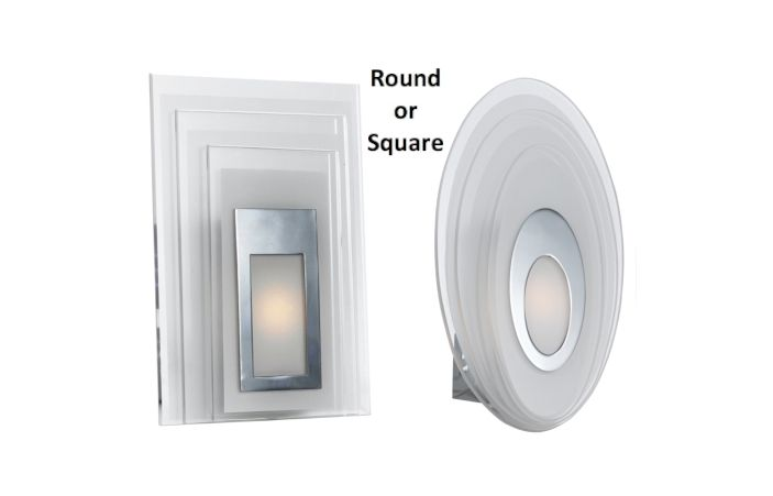 Elsa LED Wall Light 5w Chrome Glass Opaline Round or Square Telbix, $79.00