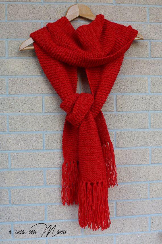 Sciarpa lunga knitted scarf sciarpa rossa sciarpa by Acasaconmanu