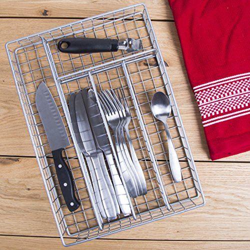 14 Metal 5 Section Flatware Organizer- Cutlery Tray (Nickel Flatware Drawer Organizer)