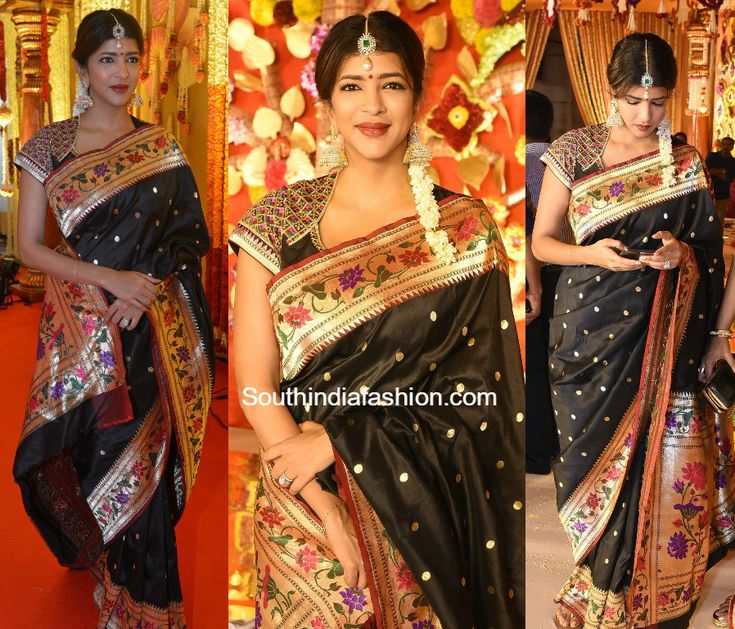 Lakshmi Manchu in a black Paithani silk saree photo