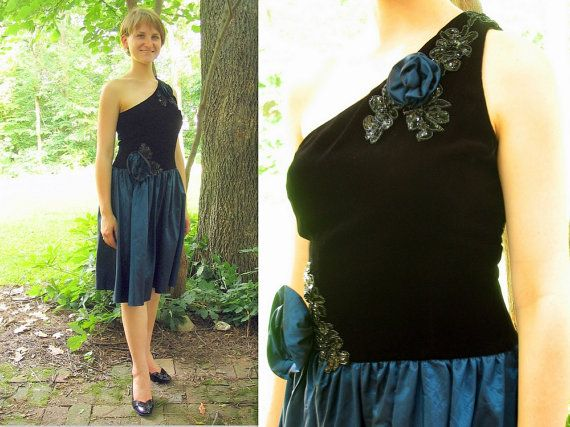 Upcycled Black and Blue Short Prom Dress Formal by bytheway