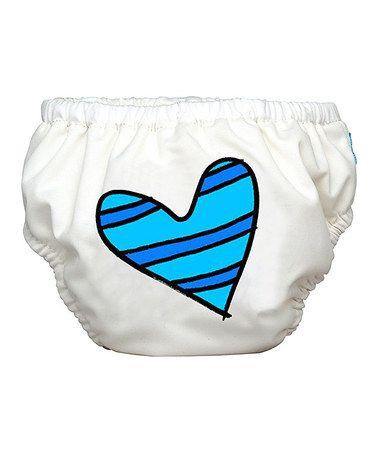 White & Blue Heart 2-in-1 Swim Diaper/Training Pants by Charlie Banana