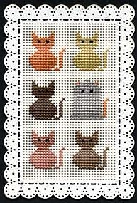 Halloween Cats: Free printable cross stitch pattern for Halloween cat bookmark from Kreinik
