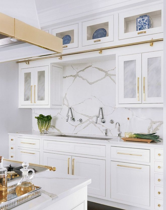 interesting marble backsplash kitchen walls | White kitchen with marble and gold accents | Mitchell Wall ...