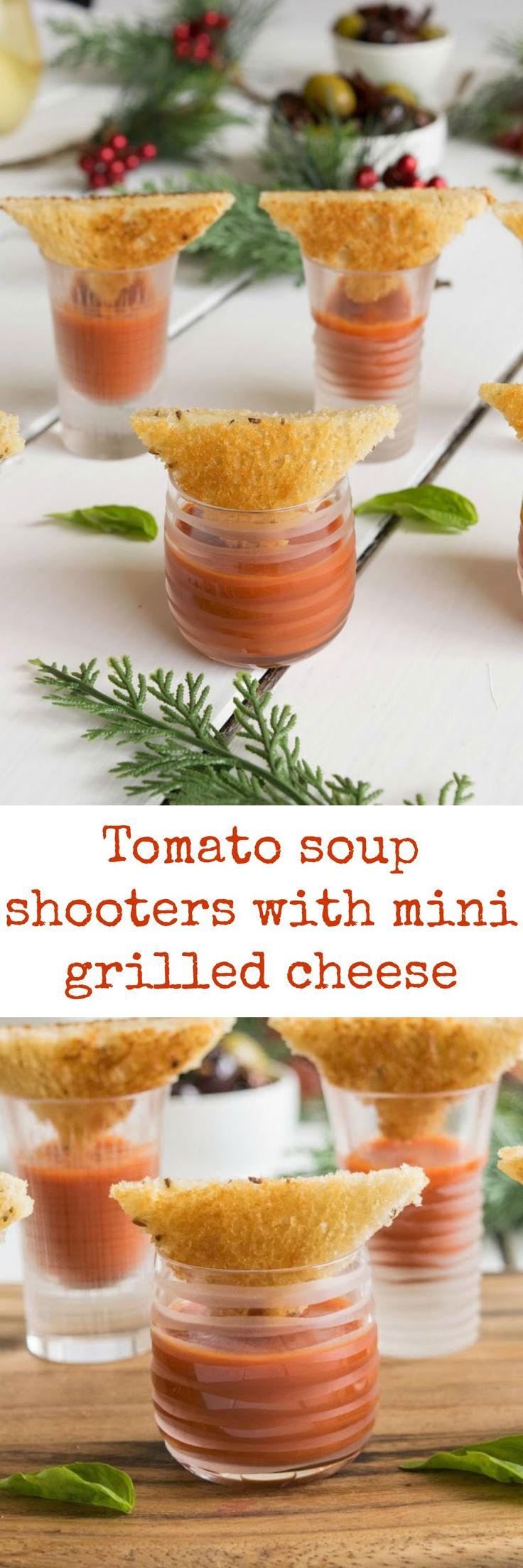 Comfort food meets Christmas party food or appetizer. Tomato soup shooters with mini grilled cheese dippers.