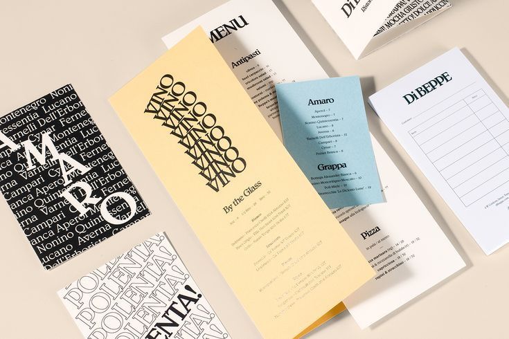 Logo and graphic identity for Italian cafe and restaurant Di Beppe by Glasfurd & Walker