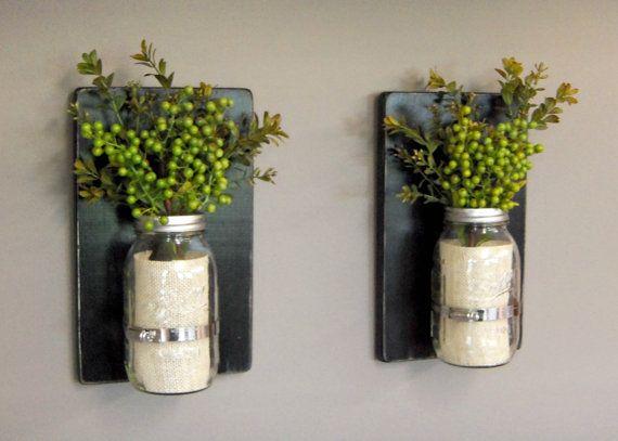 Set of 2 Sconces -  32oz Mason Jars -Wooden Wall Sconces - Black Wall Sconces - Home Decor - Distressed Wood - Rustic Wall Decor